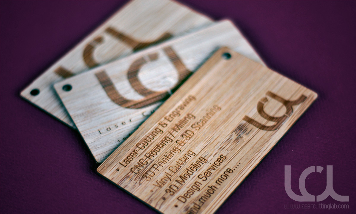 Laser Engraved Bamboo Business CardsLaser Cutting Lab LLC