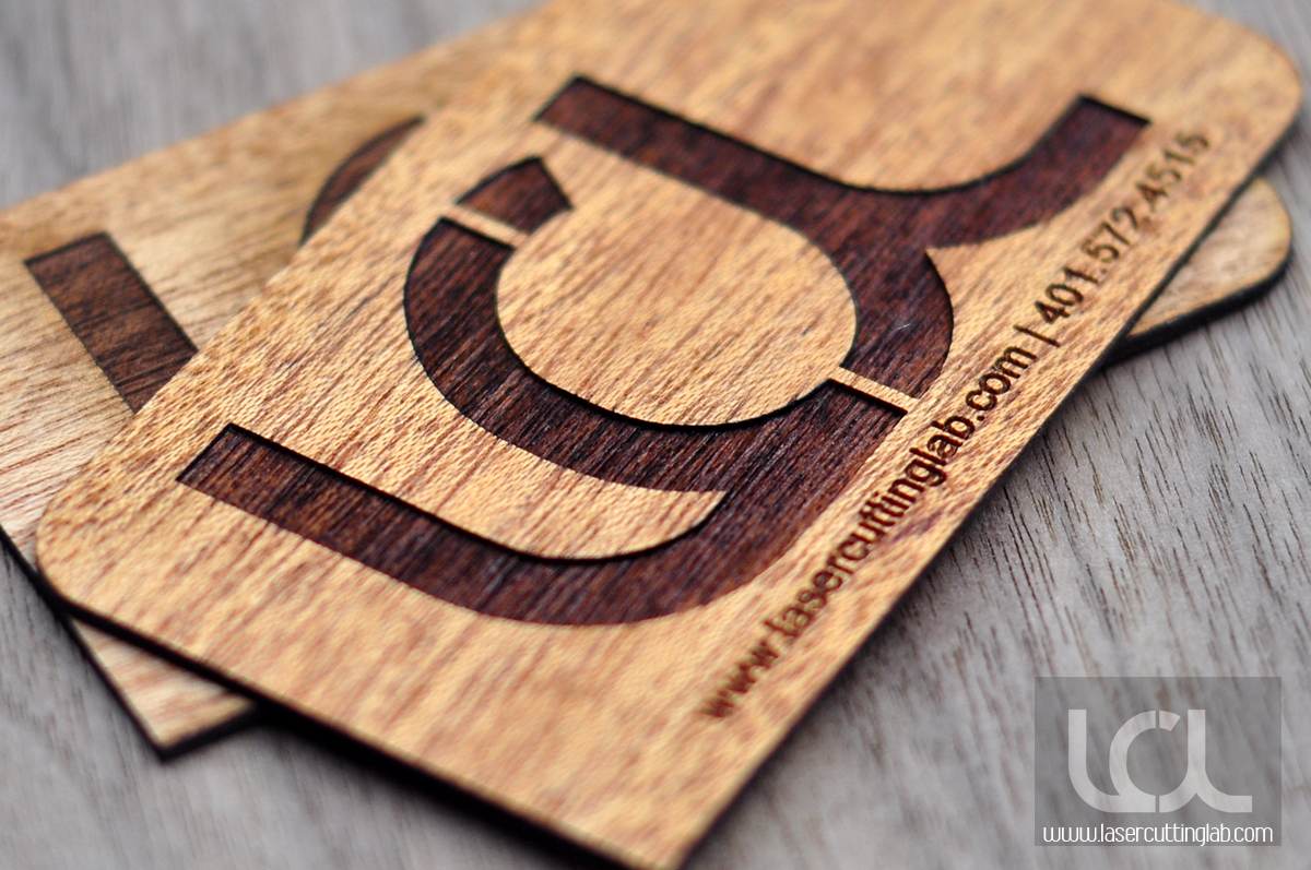 Laser engraved mahogany wood business cards reheart Choice Image