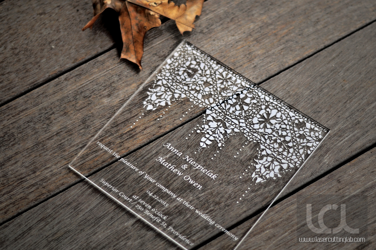Laser Engraved Acrylic Wedding Invitation - Laser Cutting Lab, LLC