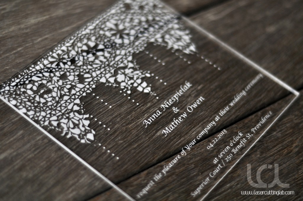 Laser Engraved Acrylic Wedding Invitation Laser Cutting