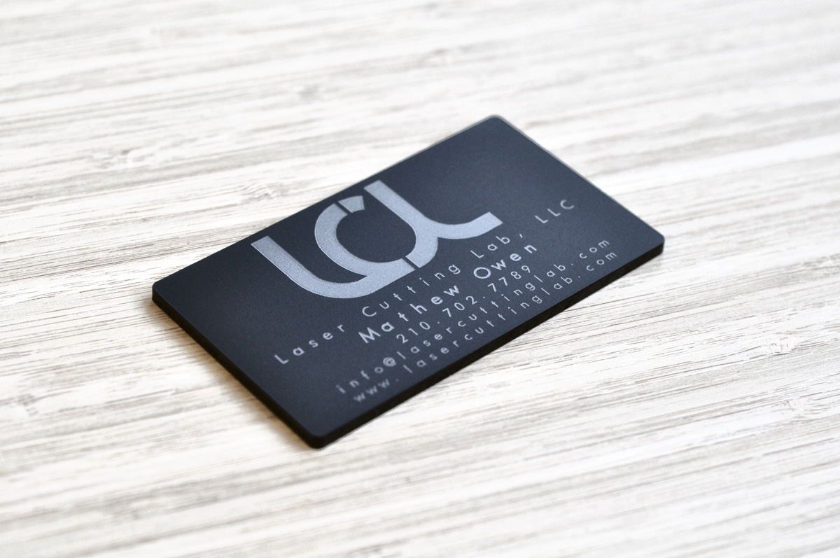 Laser Engraved Matte Black Acrylic Business Cards