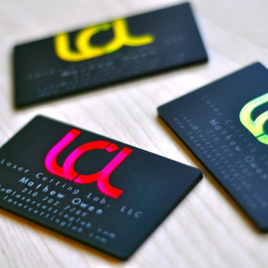 Fluorescent Light Covers >> Laser Engraved Fluorescent & Neon Acrylic Business CardsLaser Cutting Lab, LLC