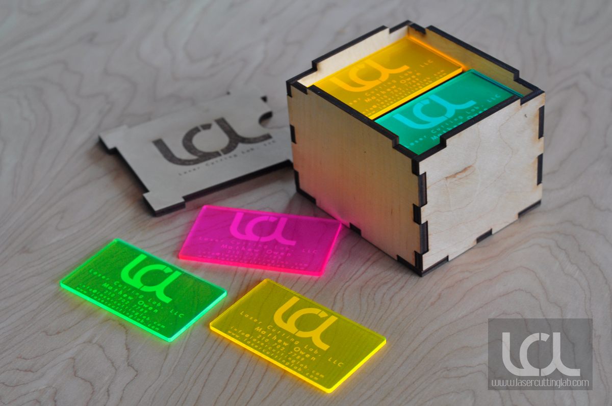 Laser Engraved Fluorescent & Neon Acrylic Business Cards