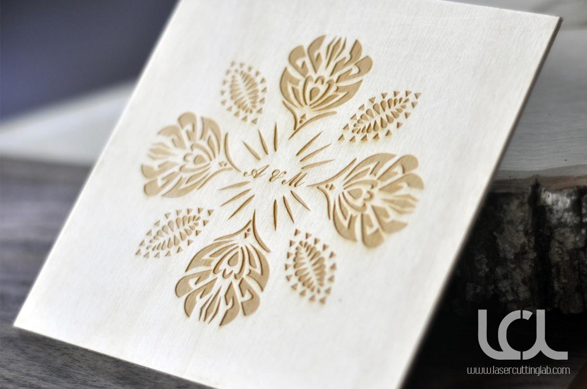 Laser Engraved Wooden Wedding Invitations Laser Cutting