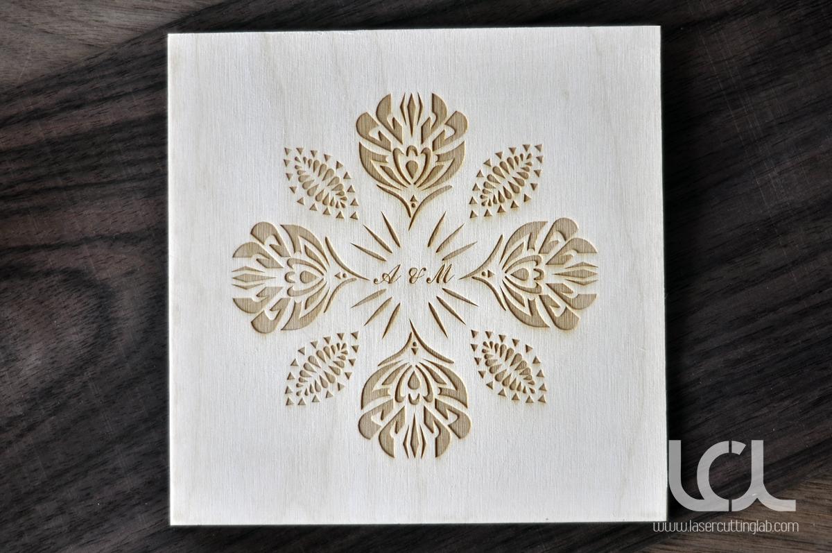Laser Engraved Wooden Wedding Invitations
