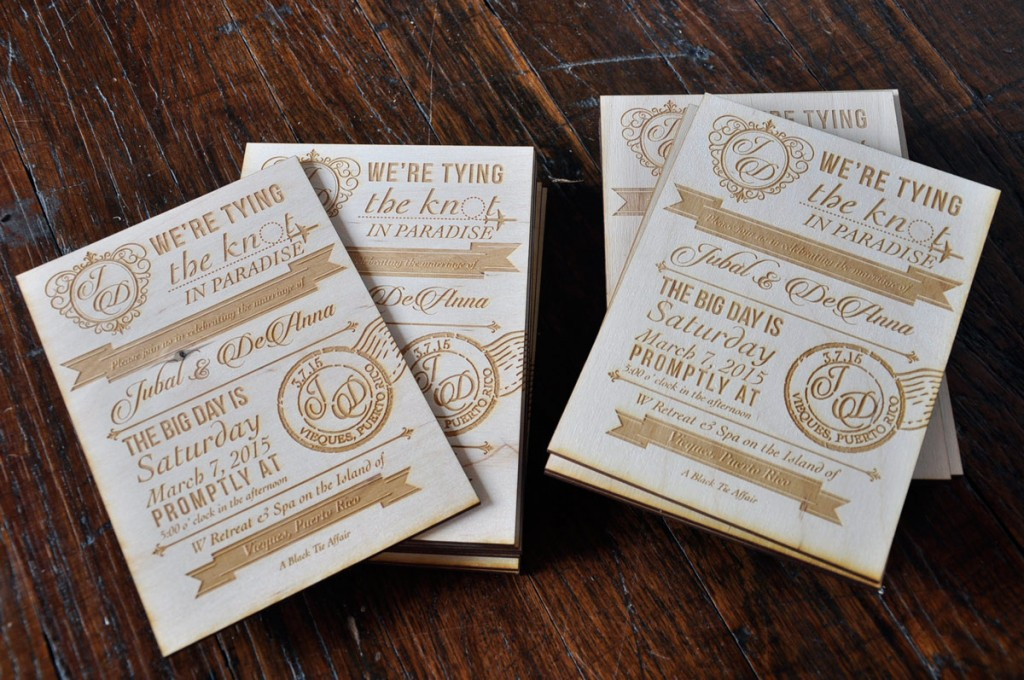 Vintage Wedding Invitations Laser Engraved