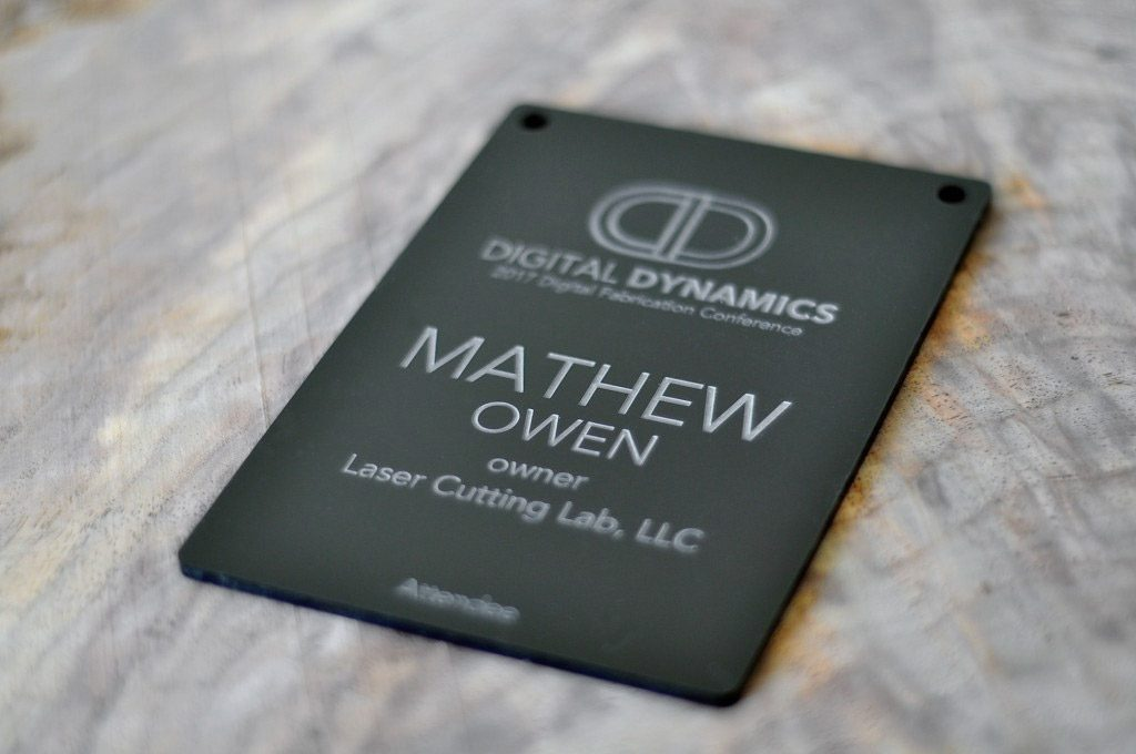 Laser Engraved Matt Black Acrylic Conference Badge
