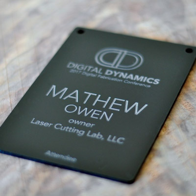 Laser Engraved Matte Black Conference Badge