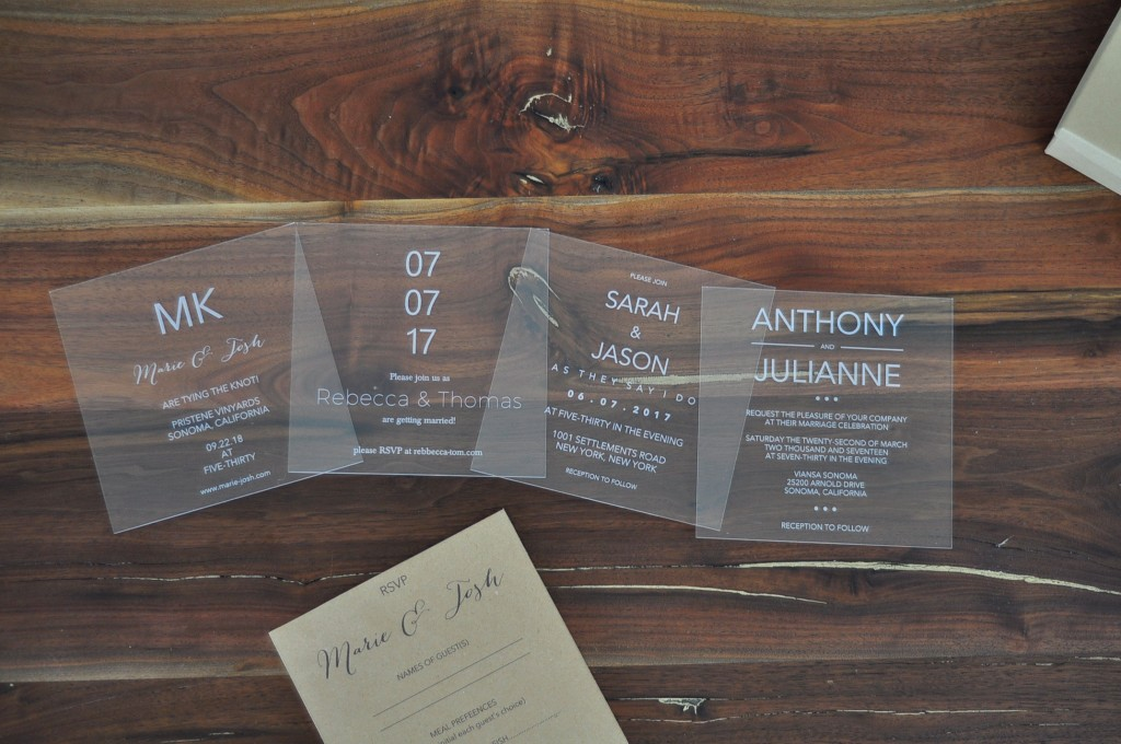 Laser Engraved Acrylic Wedding Invitations