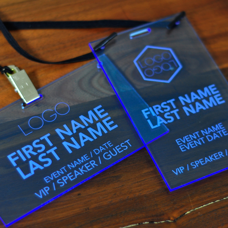 Laser Engraved Fluorescent Blue Conference And Event