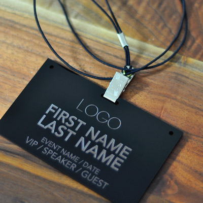 laser engraved black acrylic conference badge product