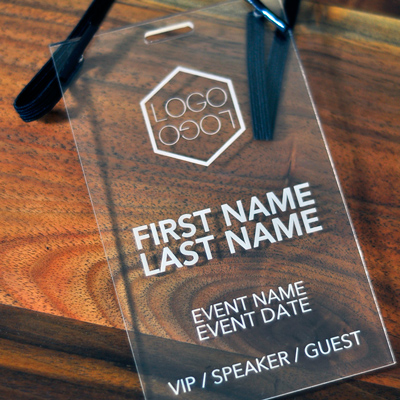Laser Engraved Clear Acrylic Conference And Event Badges