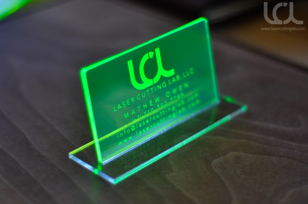 laser engraved fluorescent green acrylic business cards