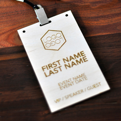 Top Laser Engraved Wood Conference and Event Badges - Laser Cutting  WH17